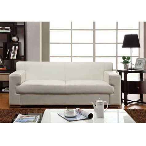 canape simili blanc cubo canapé fixe cuir et simili 3 places 193x89x74 cm
