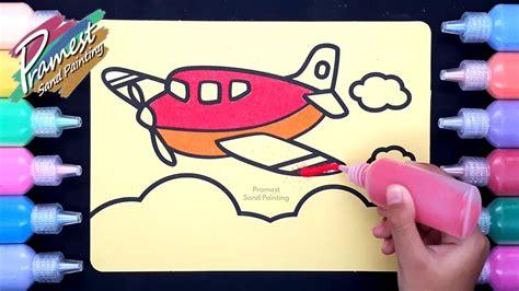 mewarnai gambar pesawat terbang dengan pasir warna sand
