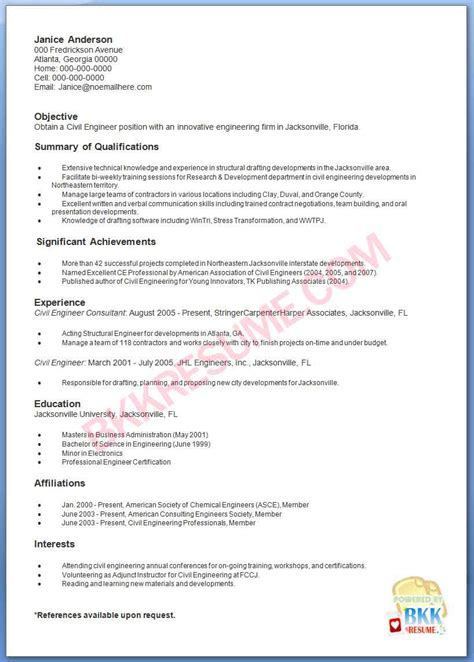 format of resume for civil engineer 28 images sle