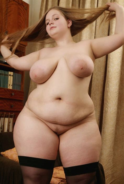 bbw chick in stockings is fond of her big boobs