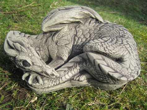 Curled Dragon Stone Garden Ornament || See My Full