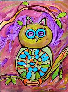MR. HOOTY Original Abstract Owl Painting by Suzeee by ...