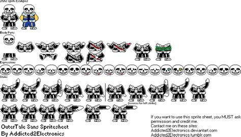 Outertale Sans Sprite Sheet By