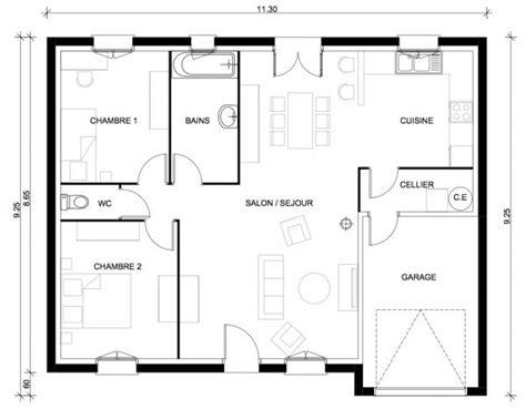 plan de maison plain pied 3 chambres gratuit plan de maison une
