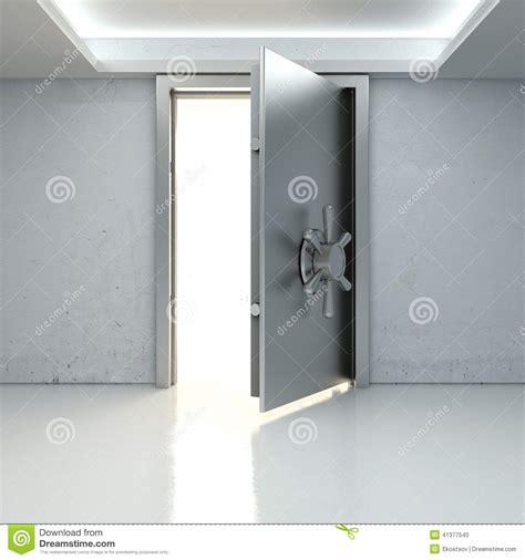 allumez par une porte entrouverte du coffre fort de banque illustration stock image 41377540