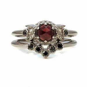 victorian gothic engagement ring set garnet and black With victorian wedding ring sets