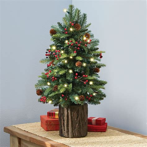 table top christmas trees with lights the tabletop prelit christmas tree hammacher schlemmer