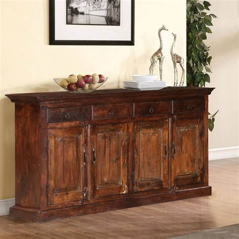 Farmhouse Sideboard by Willamette Rustic Solid Wood Farmhouse 4 Drawer Large