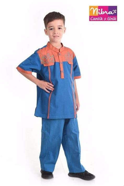 Baju Muslim Koko Pria Ayah Anak jual ekslusif baju balita murah nibras nsa l35 biru