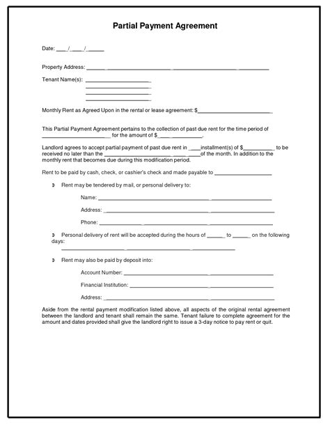 Payment Agreement Template 10 Best Images Of Payment Agreement Template Sle