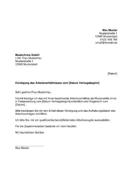 muster kuendigung arbeitsvertrag word bewerbungcom