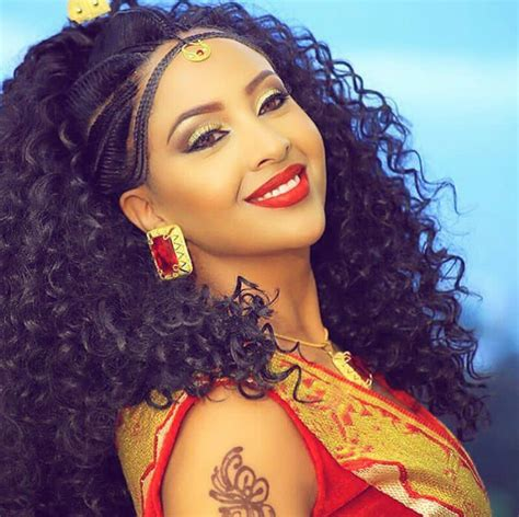 Asian women are blessed with long luscious hair. Beautiful Habesha Bride in Shuruba Hairstyle   Clipkulture   Clipkulture