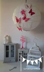 Abat Jour Chambre Fille : abat jour suspension luminaire rond envol e de papillons rose fuchsia rose poudr 9 l ments ~ Melissatoandfro.com Idées de Décoration