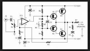 Wiring Schematic Diagram  18 Watt Rms Amplifier Using Tip41