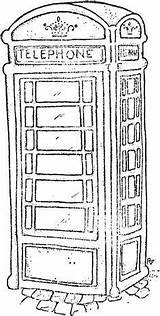 Booth Phone Sketch Telephone London Coloring Stamps Magnolia Box Colouring Pages Outline Sheets Drawing Line British Drawings Digi Rickshaw Magnolias sketch template