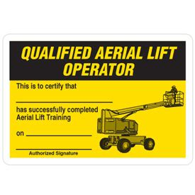 certification cards qualified aerial lift operator