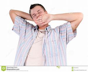 Young Man Yawning And Stretching Stock Images - Image ...