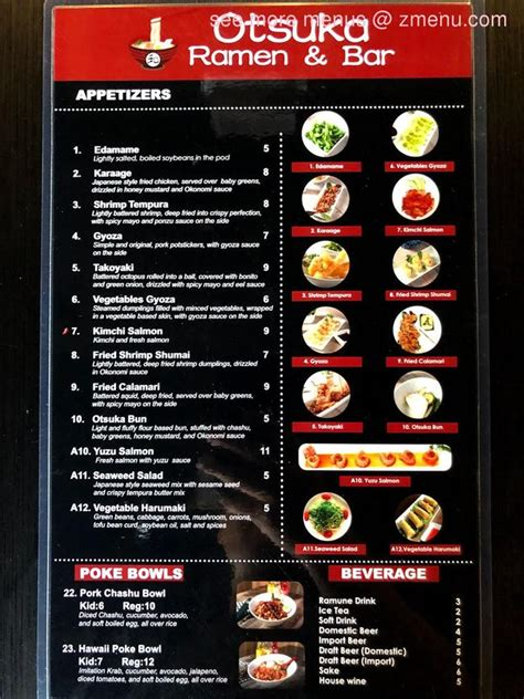 menu  otsuka ramen bar restaurant riverside