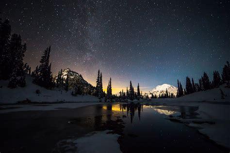 Stars, Snow, Lake Wallpapers Hd / Desktop And Mobile