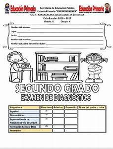 Examen de diagnóstico del segundo grado del ciclo escolar 2016 2017 Educación Primaria