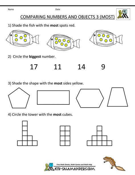 Kindergarten Math Worksheets Comparing Numbers And Size