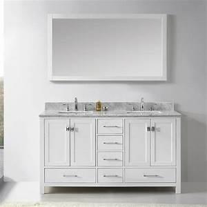 Shop virtu usa caroline avenue white undermount double for White double bathroom vanity