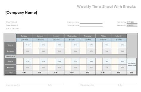 weekly time sheet  breaks related excel