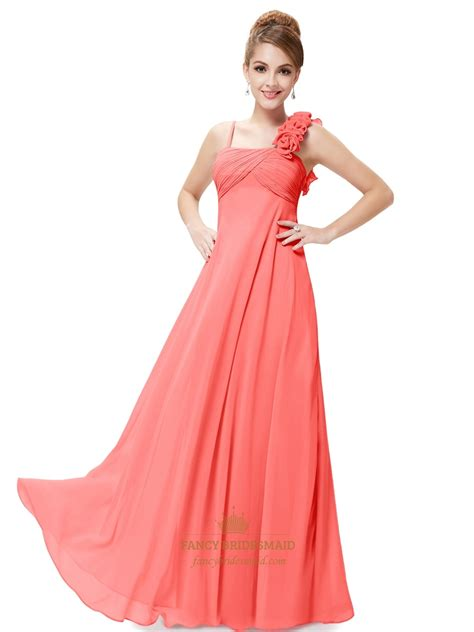 orange spaghetti strap chiffon bridesmaid dresses with