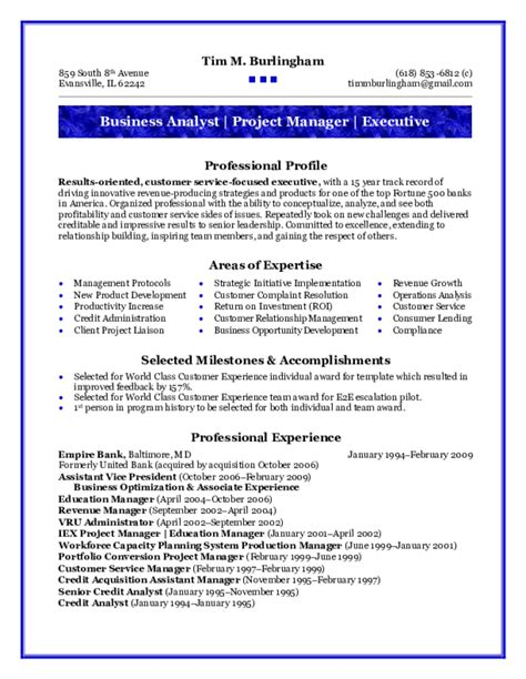 business analyst resume sles free templates