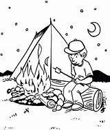 Coloring Camping Tent Campfire Printable Bbq Night Fornt Sheets Boy Papa Preschool Students Getdrawings Getcolorings Template Coloringsun Jobs sketch template