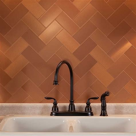 copper backsplash tiles for kitchen picture of aspect 3 quot x6 quot brushed copper grain metal