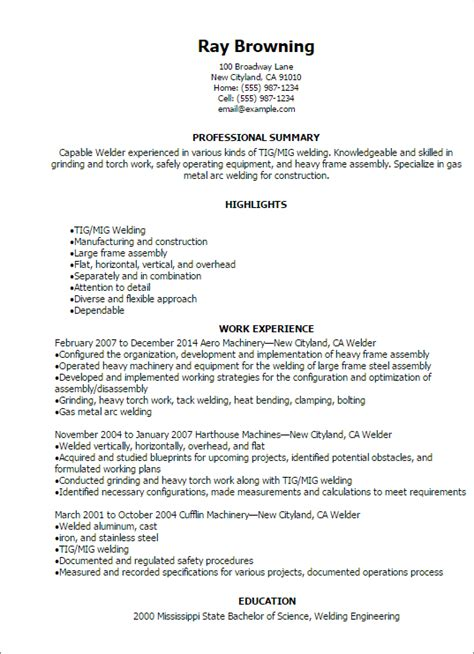 Welders Resume by Welder Resume Template Best Design Tips Myperfectresume