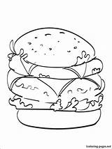 Cheeseburger Coloring Double Pages Printable Drawing Drinks Getdrawings Getcolorings Penciling Lovers Children Line 1coloring sketch template