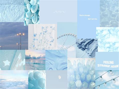 baby blue collage iphone wallpaper vintage aesthetic