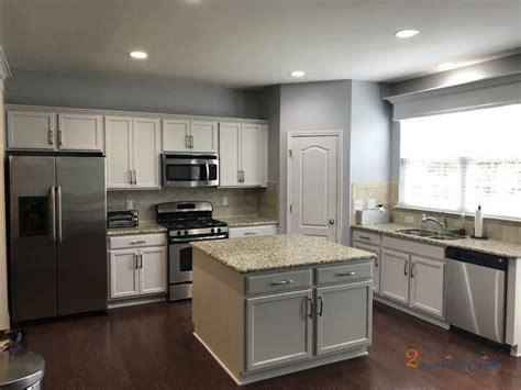 kitchen cabinets  island painted balboa mist  laurel