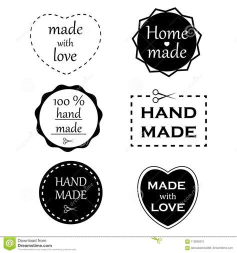 handmade labels set of handmade badges and logo elements made with and home made labels