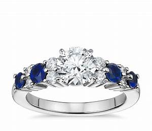 garland sapphire and diamond engagement ring in platinum With sapphire and diamond wedding ring