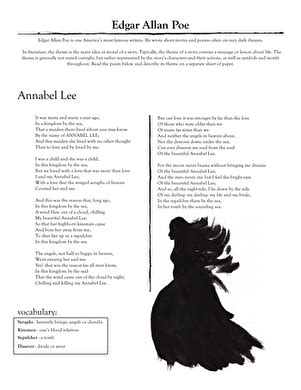 edgar allan poe quot annabel quot worksheet education