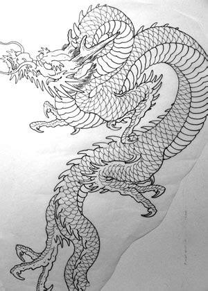 Black Outline Japanese Dragon Tattoo Stencil