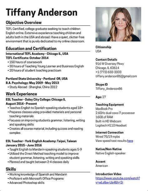 teach english online how to create a killer resume