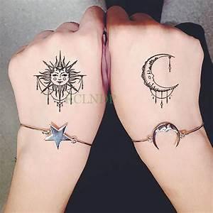 Tatouage Lune Poignet : impermeable etiqueta engomada del tatuaje temporal sol luna falso tatto flash tatoo tatouage ~ Melissatoandfro.com Idées de Décoration