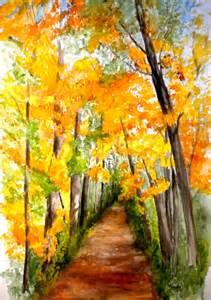 Fall Watercolor Landscape Paintings