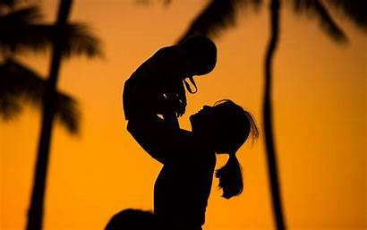 Mother Child Silhouettes 4k Background Sunset Ultra