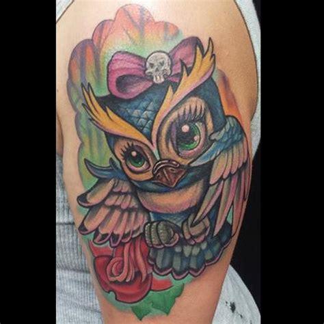 girly owl color tattoo  adam aguas tattoonow