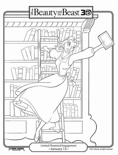 Beast Beauty Library Coloring Pages Belle Printables