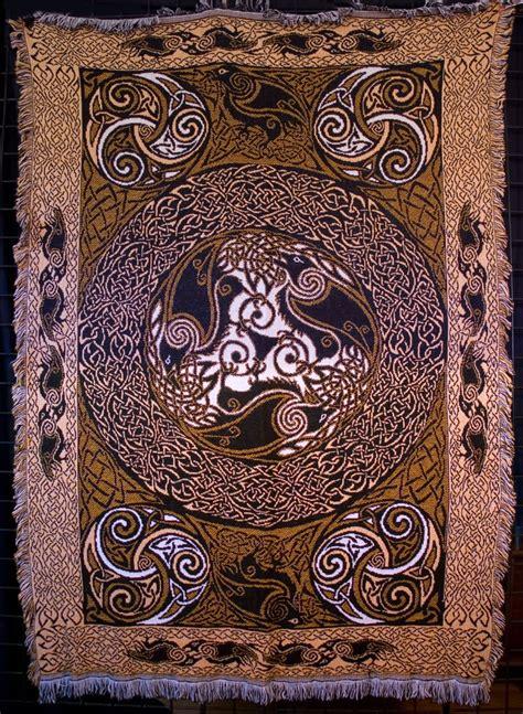 RAVENS gold -Afghan Throw By Welsh artist Jen Delyth ...