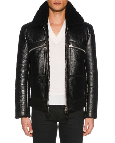 tom ford leather tom ford s cracked leather jacket with shearling trim neiman