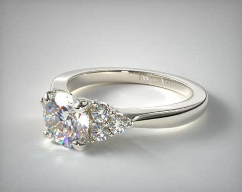 triple diamond engagement ring 14k white gold allen 17146w14