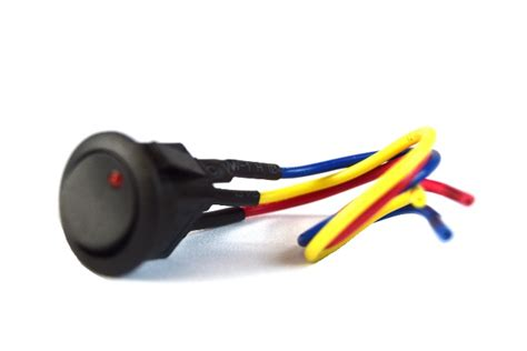 Mini Rocker Switch With Red Led Lead Wire Spst