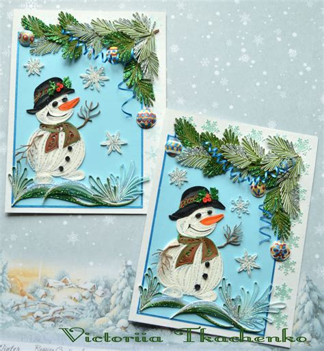 quilled card  cute snowmen christmas quilling card